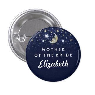 Estrellas de azules marinos y madre de la luna de pin redondo de 1 pulgada