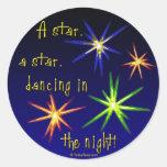 Estrellas de baile etiqueta redonda