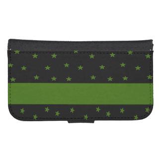 Estrellas de Black&Green y caja de la galaxia S4 Fundas Billetera Para Teléfono