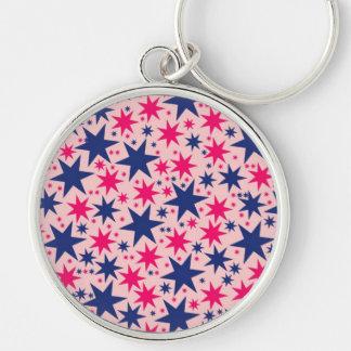 Estrellas de Bubblegum, rosa y marina de guerra, d Llavero Redondo Plateado