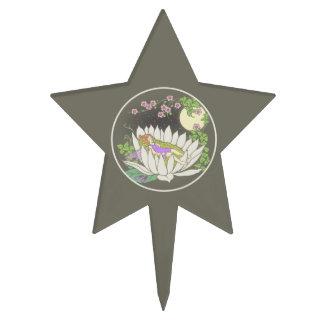 Estrellas de hadas del claro de luna de la flor el figuras para tartas