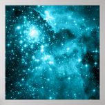 Estrellas de la aguamarina impresiones