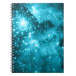 Estrellas de la aguamarina libretas espirales