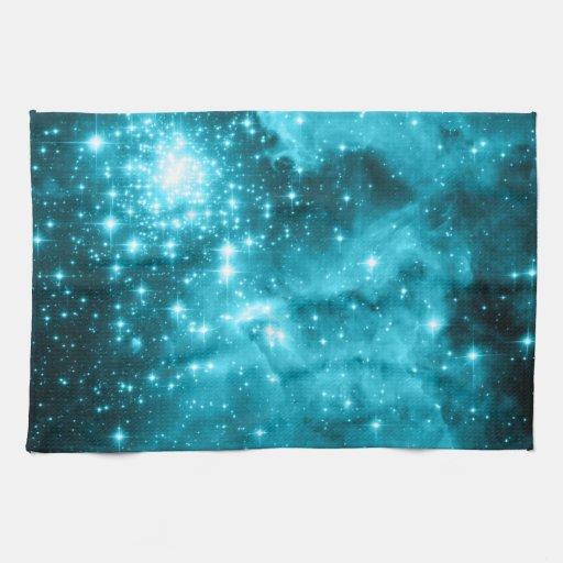 Estrellas de la aguamarina toalla