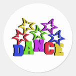 Estrellas de la danza etiqueta redonda