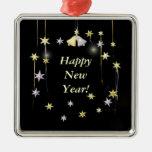 Estrellas de la Feliz Año Nuevo en negro Adornos De Navidad