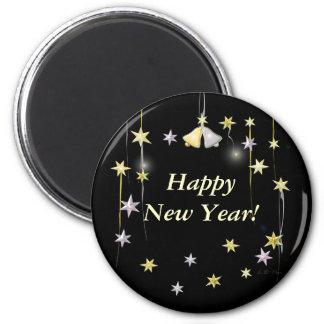 Estrellas de la Feliz Año Nuevo en negro Imán Redondo 5 Cm
