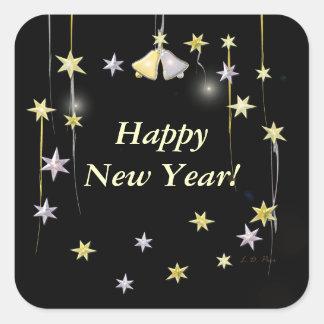Estrellas de la Feliz Año Nuevo en negro Pegatinas Cuadradases Personalizadas