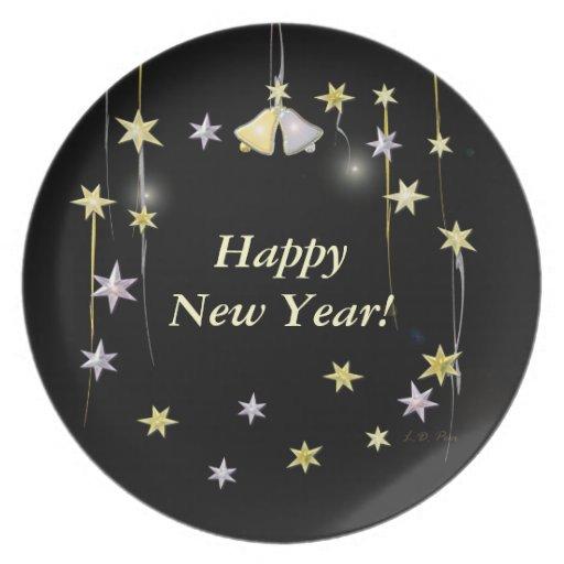 Estrellas de la Feliz Año Nuevo en negro Platos Para Fiestas
