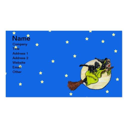 Estrellas de la luna del gato de la bruja del vuel tarjeta de negocio