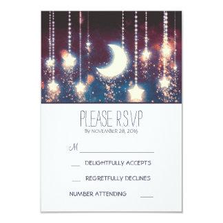 """estrellas de la luna y cadena de luces que casan invitación 3.5"""" x 5"""""""