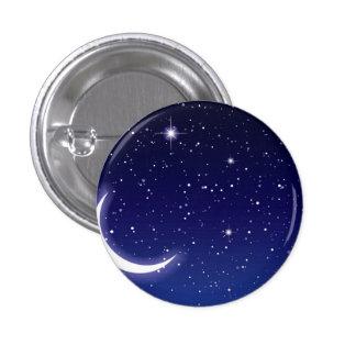 Estrellas de la luna y del centelleo pin redondo de 1 pulgada