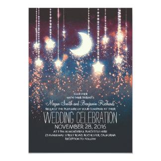 """Estrellas de la luna y luces de la secuencia que invitación 5"""" x 7"""""""
