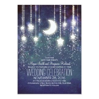 Estrellas de la luna y luces de la secuencia que invitación 12,7 x 17,8 cm