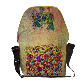 Estrellas de la mariposa del hibisco y chica metál bolsas de mensajeria