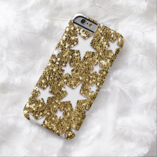 Estrellas de la mirada del brillo del oro funda de iPhone 6 barely there