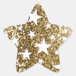 Estrellas de la mirada del brillo del oro pegatina forma de estrella personalizada