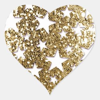 Estrellas de la mirada del brillo del oro pegatina en forma de corazón