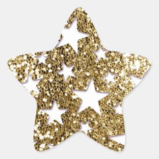 Estrellas de la mirada del brillo del oro pegatina en forma de estrella