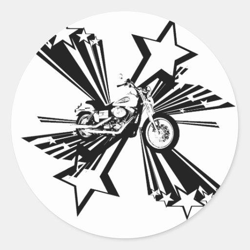 Estrellas de la motocicleta pegatina redonda