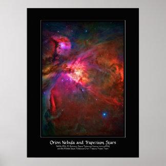 Estrellas de la nebulosa y del trapecio de Orión Poster