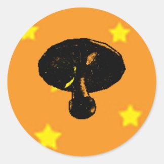 Estrellas de la noche de la seta pegatina redonda