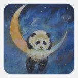 Estrellas de la panda pegatina cuadrada