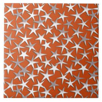 Estrellas de la plata en el cobre azulejo cuadrado grande