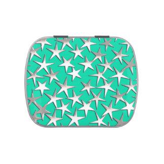 Estrellas de la plata en la turquesa jarrones de dulces