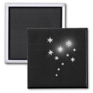 Estrellas de la plata en negro iman de frigorífico
