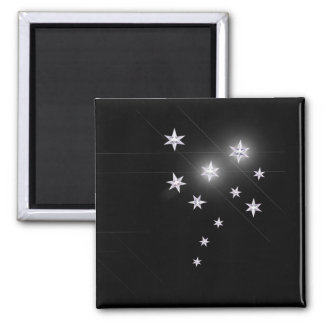 Estrellas de la plata en negro imán cuadrado