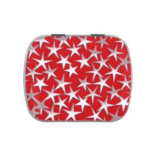 Estrellas de la plata en rojo oscuro frascos de caramelos
