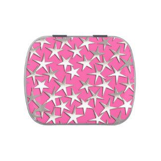 Estrellas de la plata en rosa fucsia jarrones de dulces
