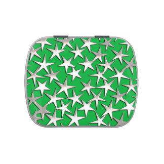 Estrellas de la plata en verde esmeralda latas de dulces