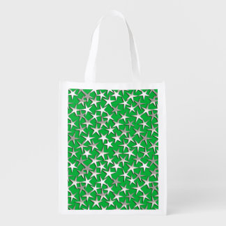 Estrellas de la plata en verde esmeralda bolsa reutilizable