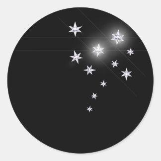 Estrellas de la plata pegatinas redondas