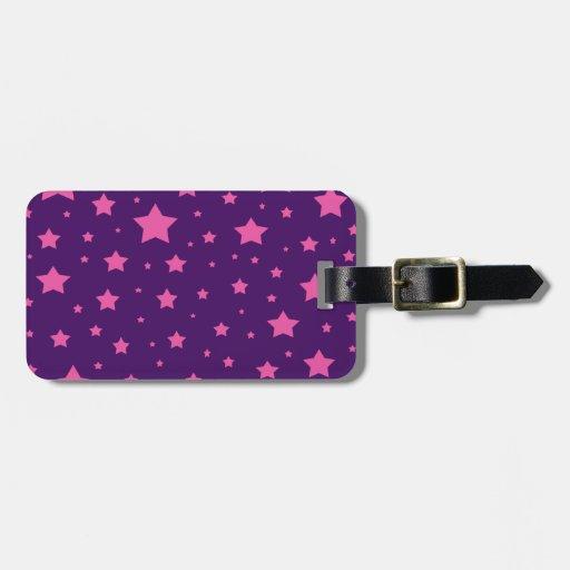 estrellas de la púrpura y del rosa etiquetas para equipaje