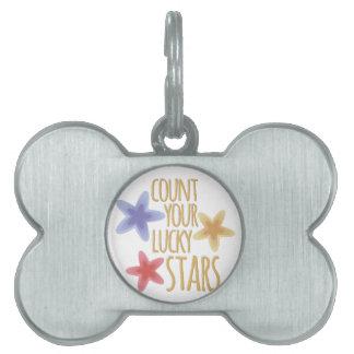 Estrellas de la suerte placas de nombre de mascota