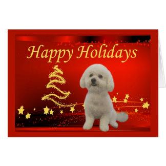 Estrellas de la tarjeta de Navidad de Bichon Frise