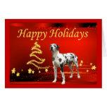 Estrellas de la tarjeta de Navidad de great dane