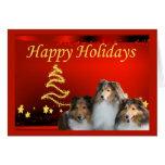 Estrellas de la tarjeta de Navidad de Sheltie