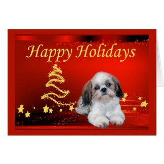 Estrellas de la tarjeta de Navidad de Shih Tzu