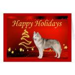 Estrellas de la tarjeta de Navidad del husky siber