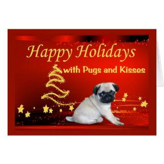 Estrellas de la tarjeta de Navidad del perrito del