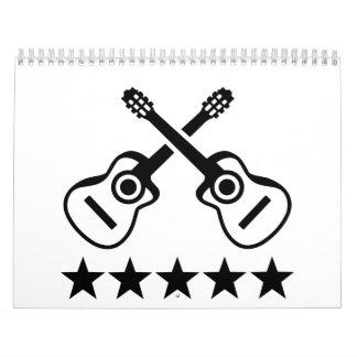 Estrellas de las guitarras acústicas calendario de pared