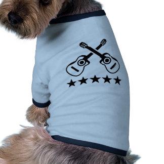 Estrellas de las guitarras acústicas camiseta con mangas para perro