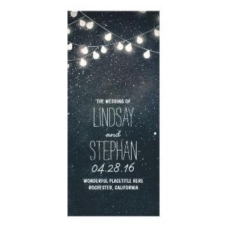 Estrellas de las noches y luces de la secuencia tarjeta publicitaria