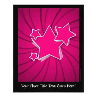 Estrellas de las rosas fuertes y fondo estupendos flyer a todo color