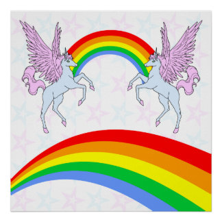 Estrellas de los arco iris de los unicornios del v póster
