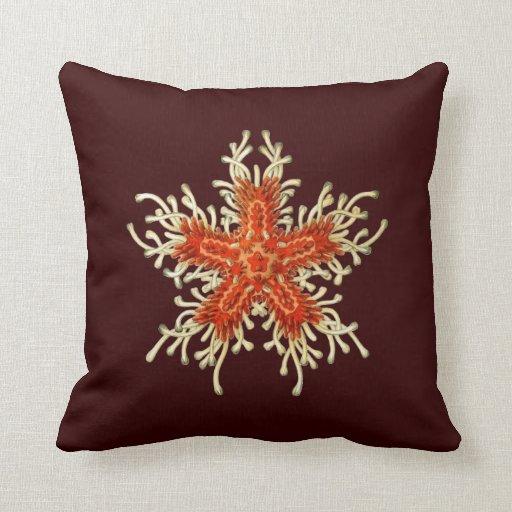 Estrellas de mar adaptables de Haeckel del vintage Cojín
